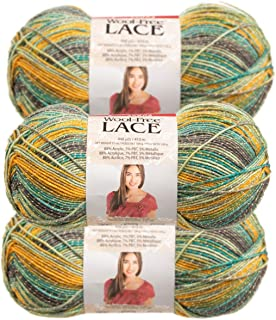 Premier Yarns (3 Pack Wool-Free Lace Acrylic Blend Soft Parrot Yellow Green Gray Yarn for Knitting Crocheting 1