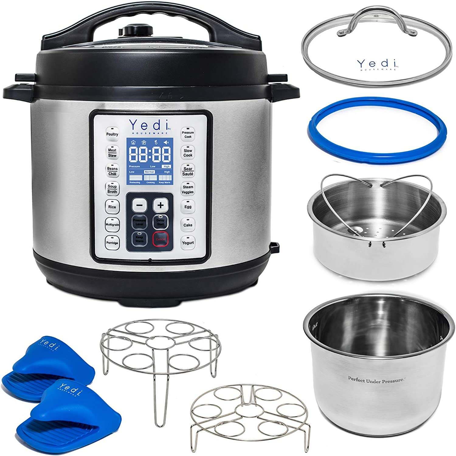 Yedi Total Package 8 Qt 9-in-1 Instant Programmable XL Pressure Cooker, Deluxe Accessory Kit, Recipes & 2Yr Warranty. Pressure Cook, Slow Cook, Sauté, Egg, Rice Cooker, Yogurt, Steamer, Hot Pot