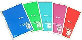 College Enri Ruled Spiral Notebook 70 برگ رنگ های مختلف بسته 5