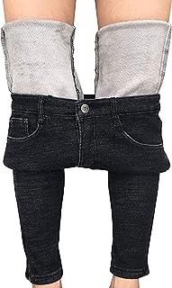 Pantalones de mezclilla para mujer, de invierno, con forro polar, elásticos, de talle alto, ajustados, para yoga