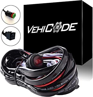 VehiCode High Power 300W 40Amp 1 Lead DT Connector Light Bar Wiring Harness Toggle Switch Relay Kit for Jeep Dodge Chevy Ford Truck ATV Off-Road LED Fog Pod Work Light Bar (1 Pack)