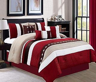 JBFF 7 Piece Oversize Stripe Luxury Micofiber Bed in Bag Microfiber Comforter Set, Burgundy, Cal King