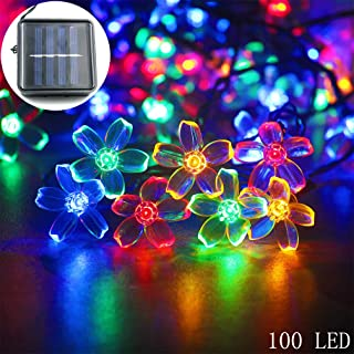 mankinlu Solar String Lights Outdoor,Waterproof Solar Powered Cherry Blossom Lights String,39FT 100LED Christmas Twinkle Lights Solar Fairy Lights for Garden Landscap Lawn Patio Xmas Tree Multicolor