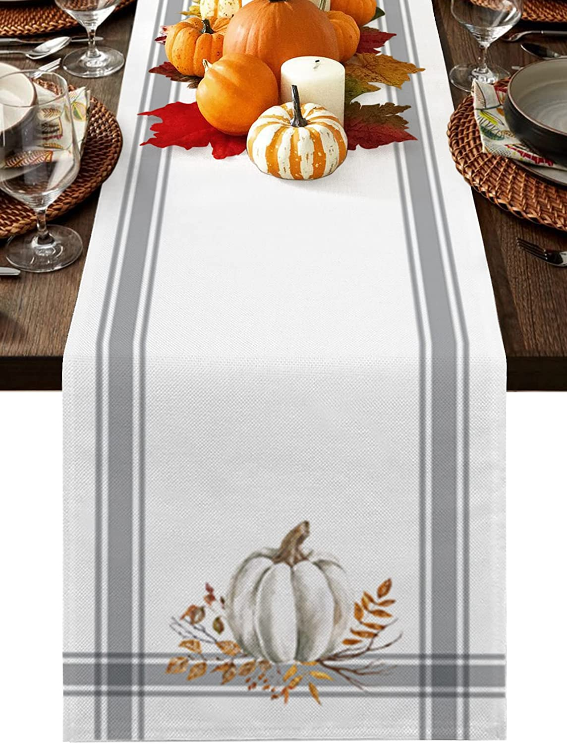TweetyBed Thanksgiving Table Runners Dresser Scarves White Pumpkin Leaf Branch Non-Slip Runners for Dining Tables Gray Stripes Fall Autumn Dinner Runner Kitchen Parties Wedding Decor, 13