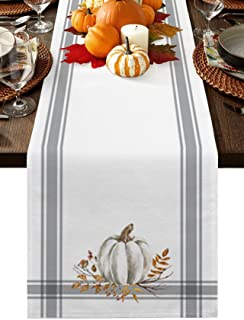 TweetyBed Fall Table Runners Dresser Scarves Thanksgiving White Pumpkin Leaf Branch Non-Slip Runners for Dining Tables Gra...