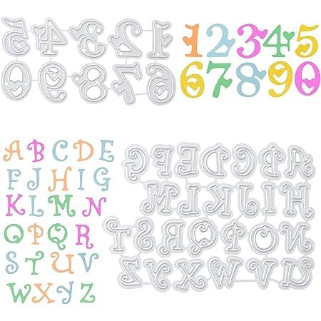 Kesote Set di Fustelle di Alfbato e Numero Metalliche Fustelle per Goffratura Stencil di Carte Decorative per Fai da Te Biglietti d'Auguri Scrapbooking Album