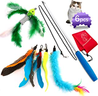 Cat Feather Toys,Cat Feather Wand,Interactive Cat Toys Retractable Wand,Kitten Toys,1 PCS Yellow Caterpillar Toy,4 PCS Replacement Natural Feathers Refill,1 PCS Carbon Fiber Telescopic Cat Teaser Wand