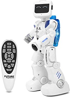 Zooawa Remote Control Robot, Hydroelectric Power Rechargable Intelligent Programmable Humanoid Dancing RC Toy for Kids Over 3 - White + Blue