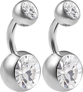 bodyjewellery 2pcs 14g Implant Grade Surgical Steel Double Crystal Short Navel Belly Button Ring 6mm1/4 14 Gauge Pick Color(s)