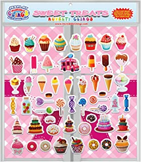 JesPlay Sweet Treats (by Incredible Gel and Window Clings) Reusable Puffy Stickers - Candy, Ice Cream, Donuts, Birthday Cake and More Window Clings for Kids and Adults