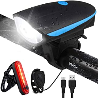 UBMSA Fietsverlichting, led-set met bel, waterdicht voorlicht en achterlicht, fietsverlichting met claxon, USB-oplaadbare ...