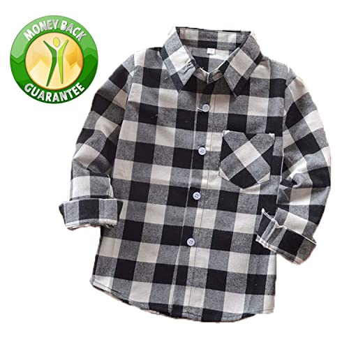 49140a6b1 Rainlover Little Boys' Long Sleeve Button Down Plaid Flannel Shirt