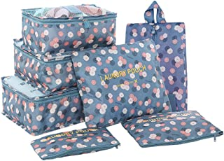HiDay 7 Set Packing Cube - 3 Travel Cubes + 3 Pouches + 1 Shoes Bag - Floral Pattern Perfect for Travel