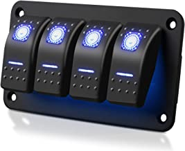 Linkstyle 4 Gang Car Boat RV Marine Switch Panel Rocker Switch Panel with Blue LED Light 5 Pin ON/Off Switch Panel with DIY Stickers Set