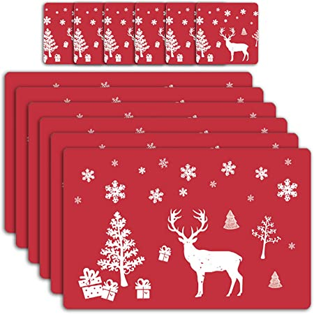 Set of 6 Place Mats Coasters Christmas PVC Dining Table Placemats Xmas Decor