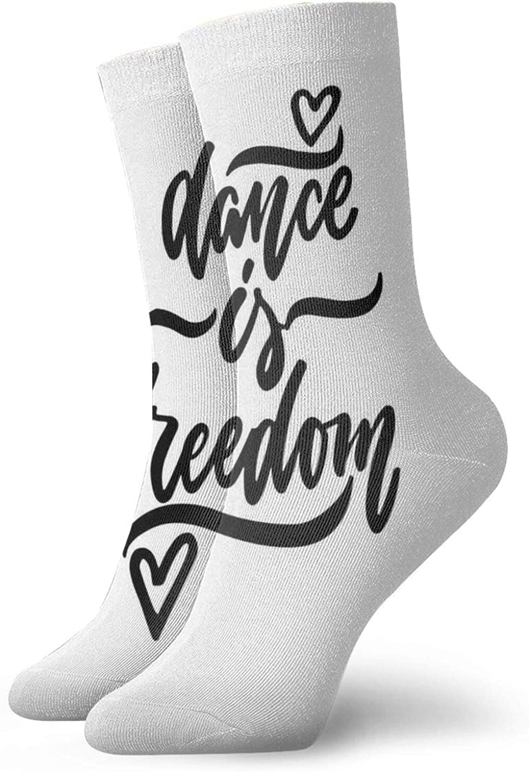 Compression High Socks-Dance Is Freedom Calligraphic Quote With Little Hearts Motivational Message Best for Running,Athletic,Hiking,Travel,Flight