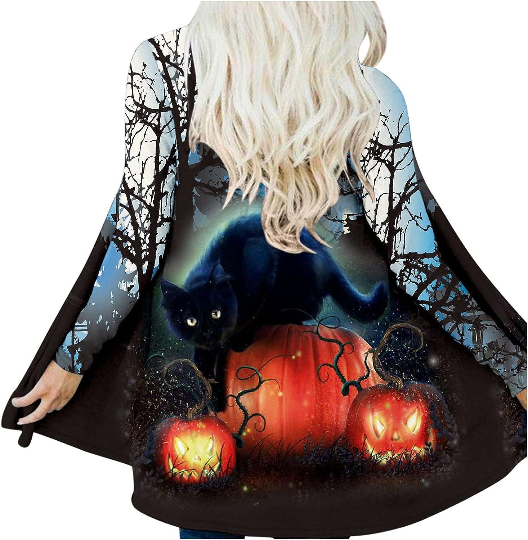 Fudule 2021 Halloween Shirts for Women Long Sleeve Open Front Cardigan Cute Black Cat Pumpkin Face Print Landscape Tops