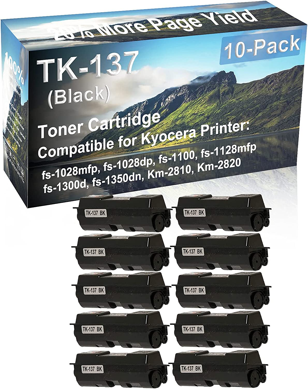 10-Pack Compatible High Yield Km-2810, Km-2820 Printer Cartridge Replacement for Kyocera TK137 (TK-137) Toner Cartridge (Black)