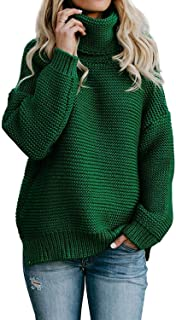 ANFTFH Chunky Knit Pullover Sweaters for Women Turtleneck Long Sleeve Top