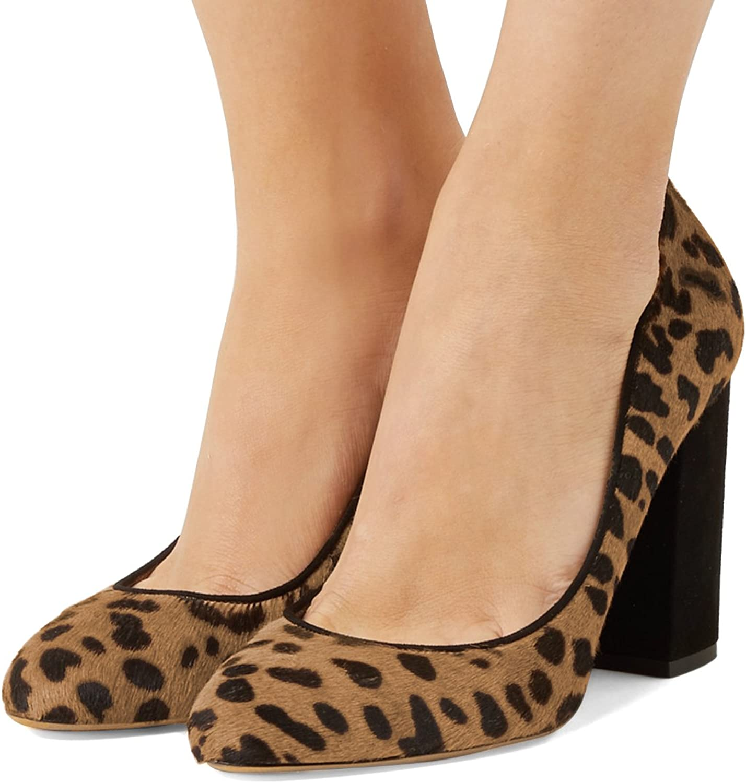 FSJ Kvinnor Kvinnor Kvinnor Sexiga Leopard Pumpar Chunky High klackar Round Toe Comfortable gående skor Storlek 4 -15 USA  bra kvalitet
