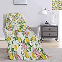 jecycleus Yellow Flower Children's Blanket Flourishing Bindweed and Pink Roses Leaves Botanical Nature Lightweight Soft Warm and Comfortable W54 by L72 Inch Jade Green Yellow Baby Pink