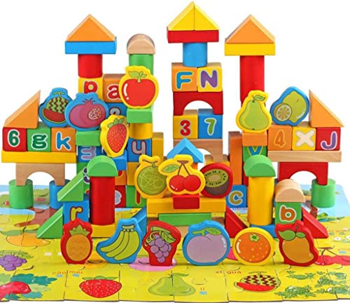Kinder Holz Thema Bausteine 100 +48 Stück Puzzle F er Spielzeug , fruit theme blocks