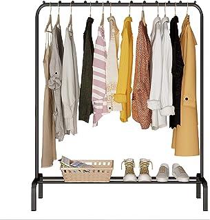 YAYI Porte-Vêtements en Métal Suspension Autoportante avec étagère de Rangement Noir