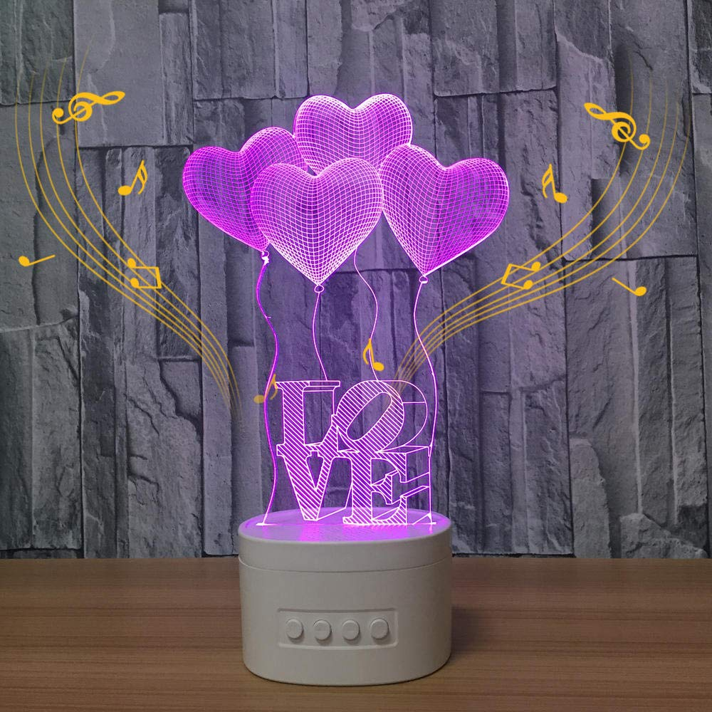 Bbbzhidd Cheap super special price Romantic Love Heart Balloon Lamp Led Wireless 3D Max 66% OFF Table