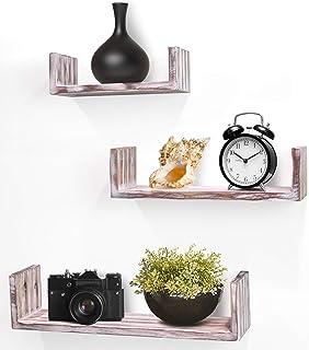 Best Greenco Set of 3 Rustic U Shelves, Decor Display. Floating Shelf, 3 Count Review