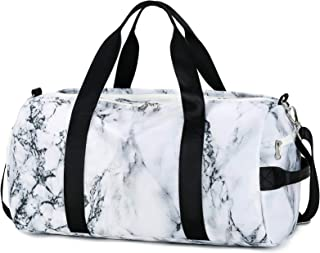 Sport Gym Duffle Travel Bag for Men Women with Shoe Compartment, Wet Pocket (Marble-White)