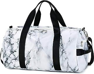 کیف ورزشی مسافرتی ورزشی ورزشی Duffle برای مردان با محفظه کفش ، جیب مرطوب (مرمر-سفید)