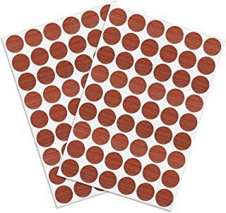 uxcell Self-Adhesive Screw Hole Stickers,2-Table Self-Adhesive Screw Covers Caps Dustproof Sticker 21mm 54 in 1 Cherry Wood