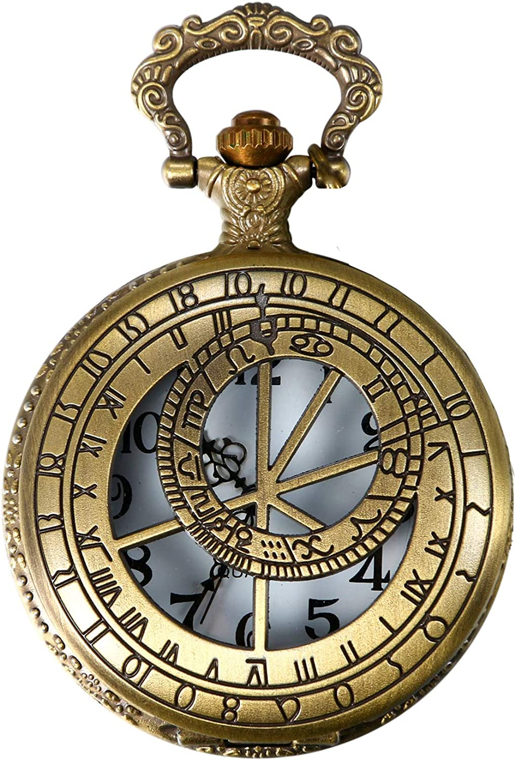 Amazon Com Jewelrywe Vintage Brass Pocket Watch With Compass Necklace Twelve Constellation Clock For Mother Day Gift 31 5 Inch Chain Clothing Shoes Jewelry