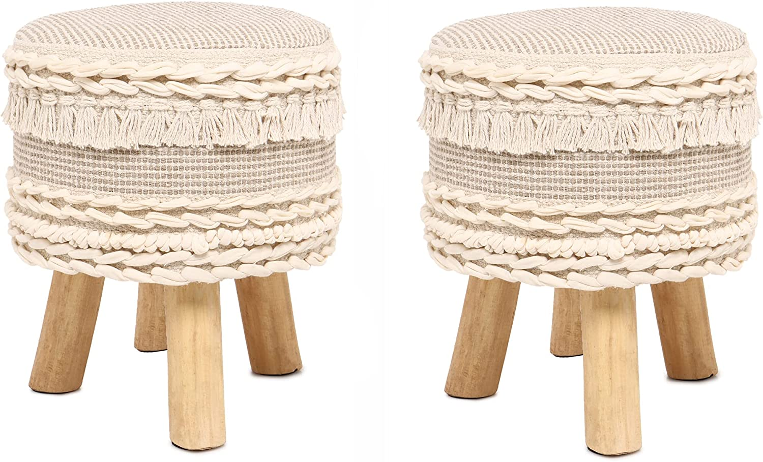 Store 5 popular REDEARTH Foot Stool -Handmade Wooden Footrest Tufted 4 Legs Seat