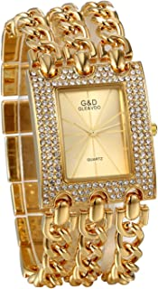 JewelryWe Womens Luxury Simple Square Dial Quartz Watch Rhinestone Gold Tone Case Chain Band Wrist Watch