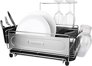 """Cuisinart Stainless Steel Dish Drying Rack – Includes Wire Dish Drying Rack, Utensil Caddy, Draining Board, Stemware Holder, and Non-Slip Cup Holders, 14.4"""" x 12"""" x 6""""- Stainless Steel/Black"""