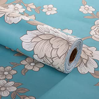 GLOW4U Decorative Floral Contact Paper Self Adhesive Drawer Shelf Liner Removable Peel and Stick Wallpaper for Cabinets Shelves Drawer Furniture Wall Decal 17.7x78.7 Inches