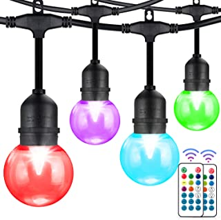 WENFENG 2 Pack G60 LED Color Changing Outdoor String Lights with Remote Control, 48FT E26 Socket RGB Waterproof Patio Lights for Backyard, Bistro, Cafe, Garden,30+5 Edison Bulbs,96FT Total