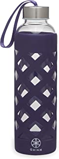 Gaiam Water Bottle Sure-Grip Glass Bottle with Protective Silicone Sleeve, 20 oz