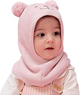 Connectyle Toddler Baby Fleece Lined Winter Hat Knit Windproof Hood Sarf Beanie
