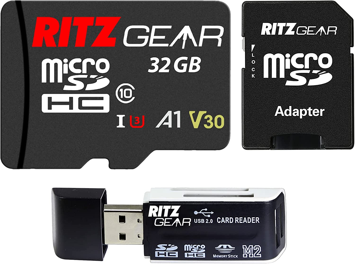 Ritz Gear Extreme Performance 32GB MicroSDXC Memory Card, Class10 V30 A1 U3 UHS1, Micro SD Card Compatible with Gaming Consoles, Cameras, Smartphones