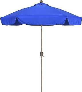 California Umbrella 7.5' Round Aluminum Pole Fiberglass Rib Umbrella, Crank Open, Push Button 3-Way Tilt, Champagne Pole, Pacific Blue