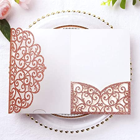 Gold Glitter 20PCS Tri-fold Laser Cut Wedding Invitations Cards with RSVP Cards for Wedding Bridal Shower Engagement Birthday Invite
