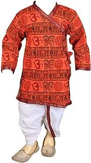 Orange Om Printed Dhoti & Kurta Pant Set for Kids