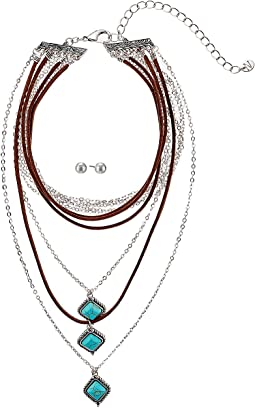 Multi-Layer Turquoise Stone Choker/Earrings Set