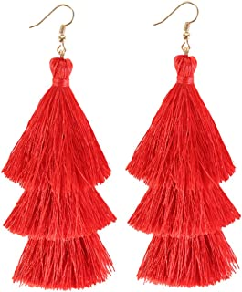 ELEARD Tassel Earrings Tiered Thread Tassel Dangle Earrings Statement Layered Tassel Drop Earrings