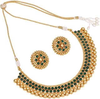 SANARA Indian Bollywood Ethnic Gold Plated Choker Style Green Necklace Set for Partywear Women and Girls Wedding Polki Jewelry