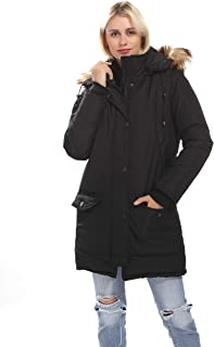 Arctic Cloth Quilted Women's Long Bomber Jacket Down Parkas with Removable Faux Fur Trimmed Hood,Cotton Down Coat Jacket