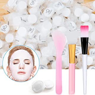 100 Pieces Compressed Facial Mask Disposable Cotton Face Mask Sheet Grain Skin Care Dry Sheet Mask Paper DIY Natural Face Mask Sheet With Mask Stick, Mask Brushes Free