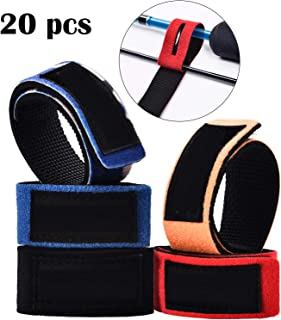 Gejoy 20 Pieces Fishing Rods Belt Ties Stretchy Rod Straps Casting Spinning Rod Straps Holders for Fishing Tackle Tie Bag Accessories
